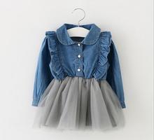 Wholesale 0-36M baby girl denim tulle dress infant baby ruffles long sleeve spring dresses baby clothing infantil 4pcs/lot(China (Mainland))