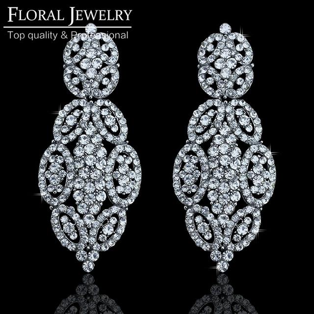 Бесплатная доставка модный дизайн свадебные аксессуары лучшие кристалл серьги овальный цветок серьги люкс свадебные украшения для женщин EH218