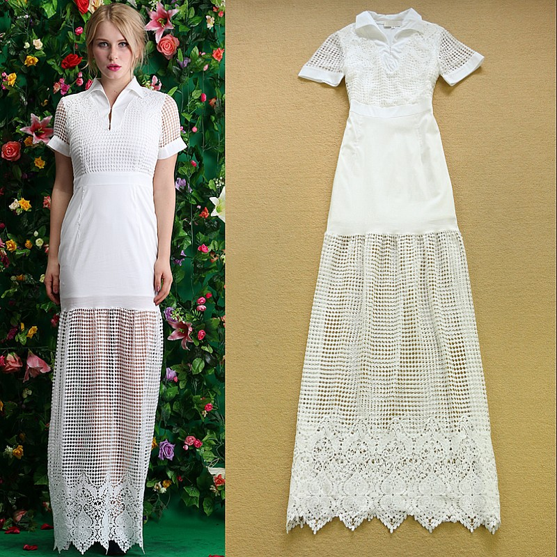 High Quality 2015 Floor Length Dress Women's Short Sleeve Hollow out Lace Embroidery Crochet Elegant Green/White Long Maxi Dress(China (Mainland))
