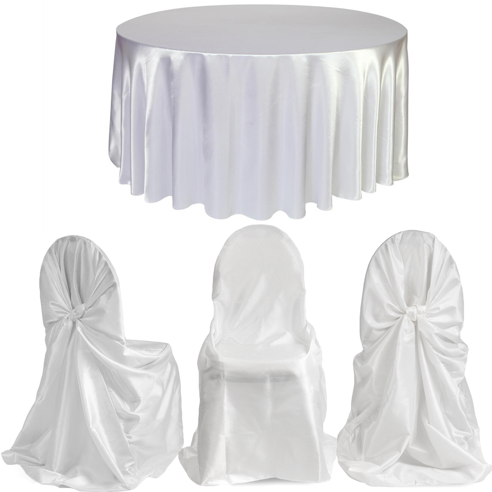 White 120 Inch Round Satin Tablecloths + 6pcs Satin Universal Chair cover for Wedding Party Restaurant Banquet Decorations(China (Mainland))