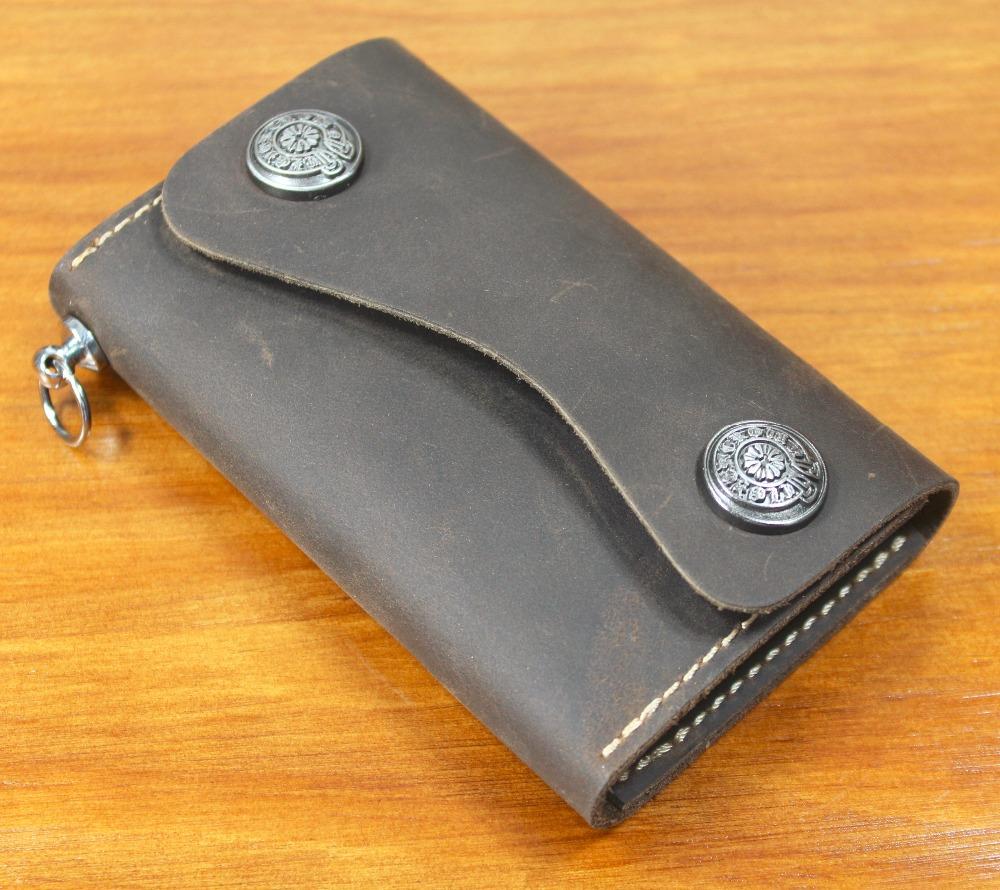 Handmade Vintage Women & Men Genuine Leather Key Wallet Men Leather Key holder Bag Leather Key Case Credit Card holder Purse(China (Mainland))