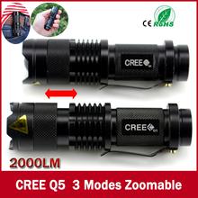 Hoch- Qualität mini schwarz cree 2000lm wasserdichte led-taschenlampe 3 Modi led zoombaren taschenlampe stablampe versandkostenfrei(China (Mainland))