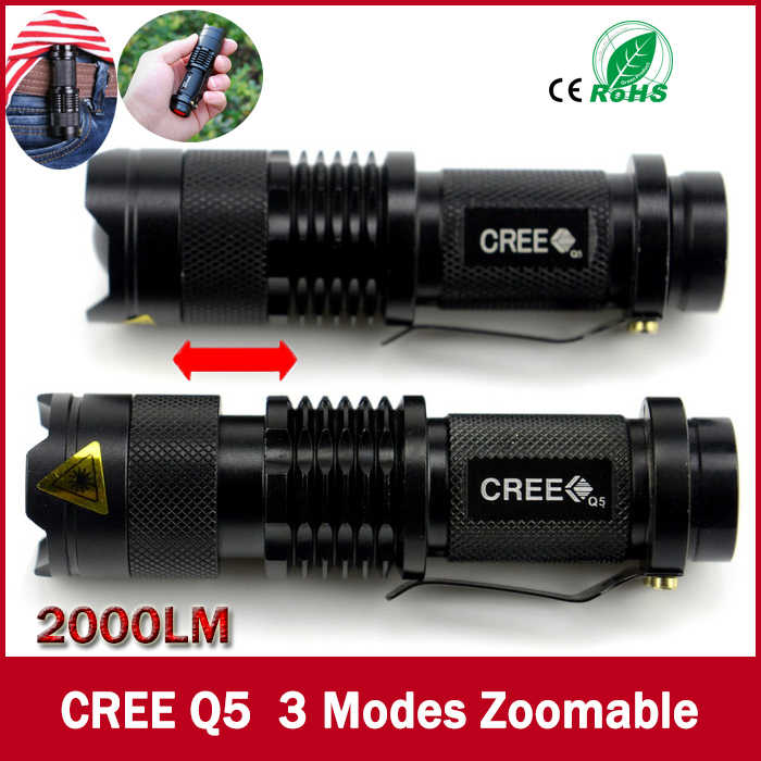 high-quality Mini Black CREE 2000LM Waterproof LED Flashlight 3 Modes Zoomable LED Torch penlight free shipping(China (Mainland))