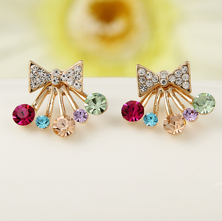 Гаджет  2015 New Fashion Korean Wind Jewelry Colorful Rhinestone Bow Shape Hanging Ear Stud Earrings Ear Ring For Woman XY-E938 None Ювелирные изделия и часы