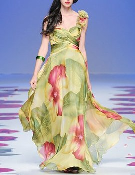 printing Fabirc Pleat and Beading Handwork one-shoulder Prom Dress OL101845