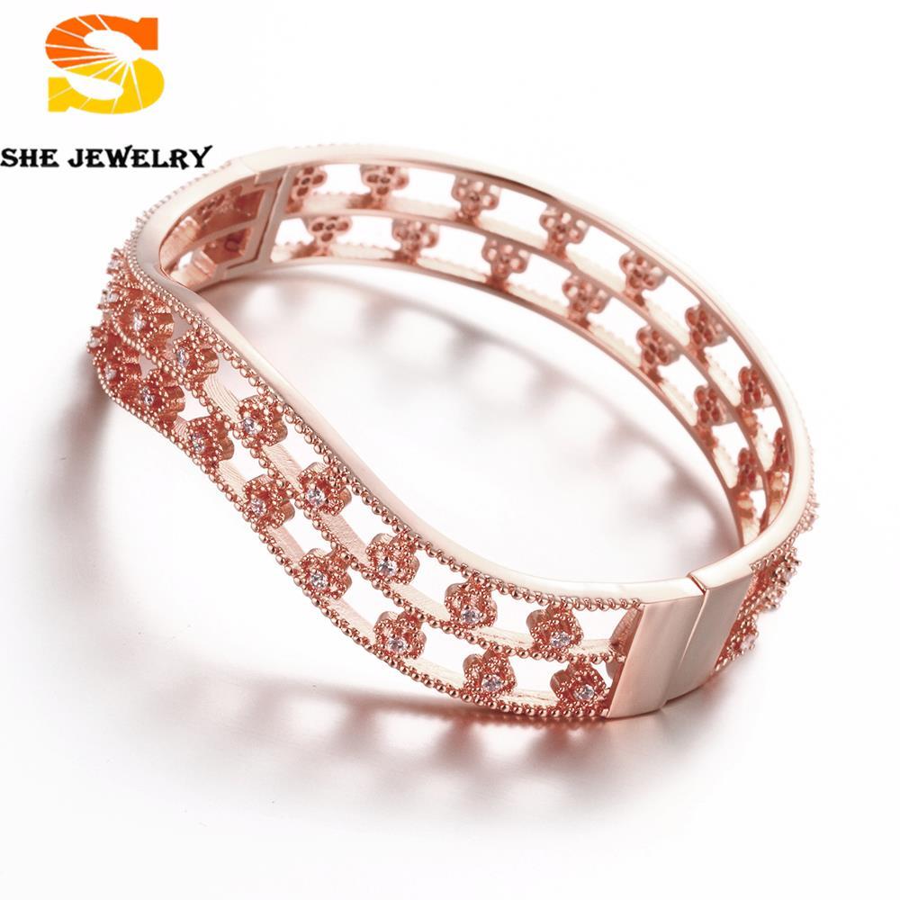 Free Shipping New Fashion Jewelry 24 k Rose Gold Plated Women Bracelets Flower Hasp Bending Design Zircon Bangle For Girl(China (Mainland))