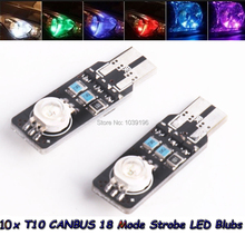 10 x 2015 Newest Design Canbus LED T10 W5W 18 Modes Colorful Transform Strobe Warning Width Lights For Honda Tesla Ford Lada VW(China (Mainland))
