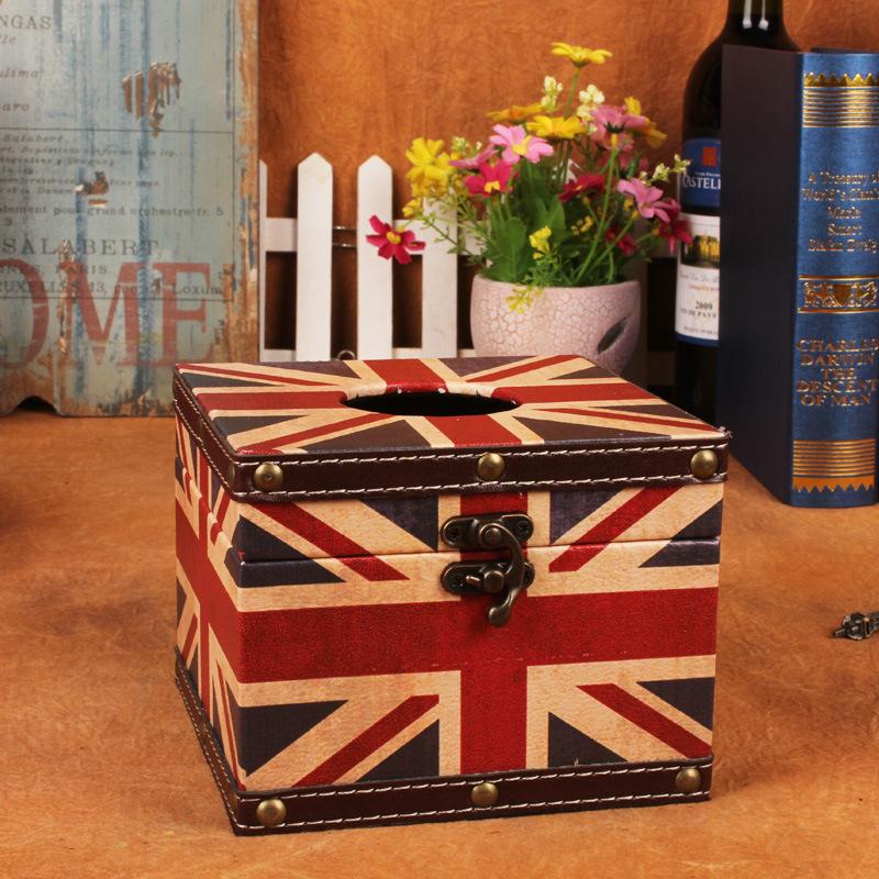 Continental Creative Square Union Jack British Style Tissue Box Fashion Personality Retro Car Pumping Tray(China (Mainland))