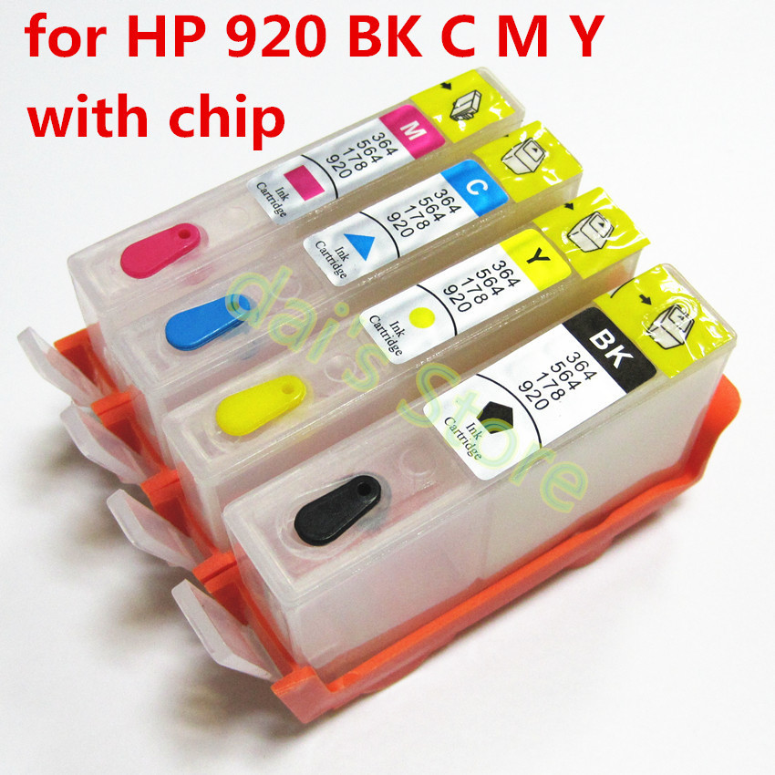 5sets For hp 920 920XL Refillable ink Cartridge for HP officejet 6000 6500 6500A 7000 7500 7500A  printer with chip<br><br>Aliexpress