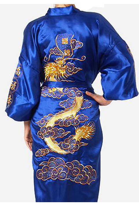 Blue Chinese tradition Mens robe gown sleepwear Bathrobe Nightwear with Dragon YF1319(China (Mainland))