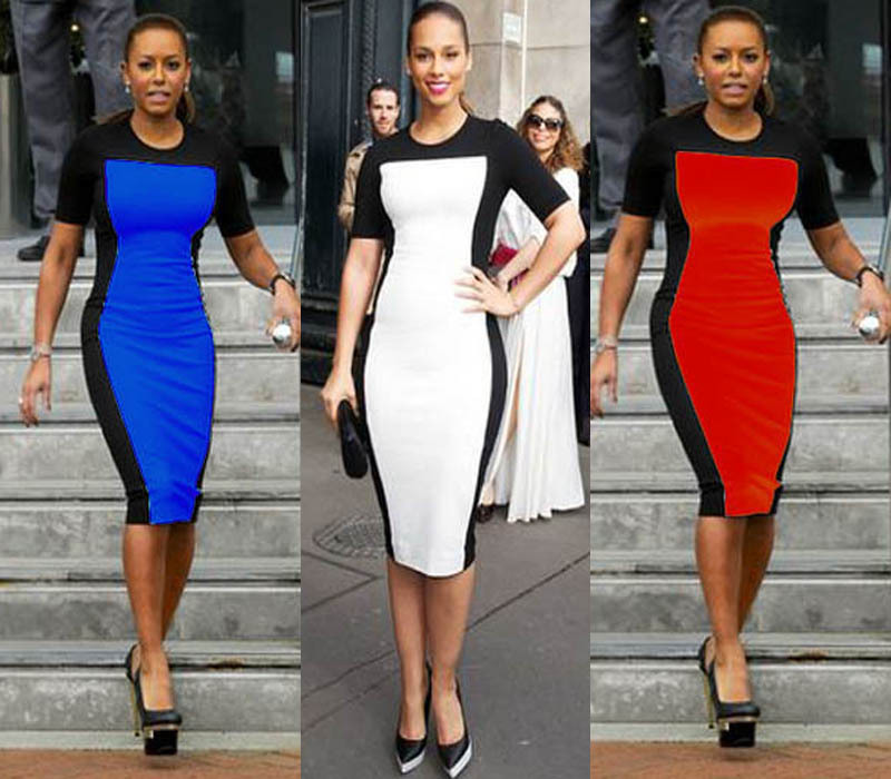 2015 ZA New Fashion Summer Cocktail Party Vintage Sheath Bodycon Casual Dress O-Neck Knee Length Patchwork Slim Women Pencil Dre(China (Mainland))