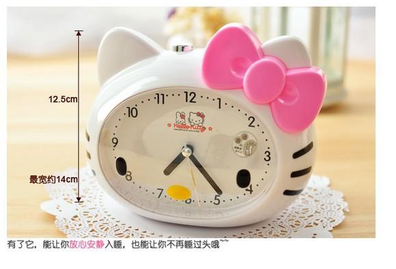 Kawaii Hello Kitty Alarm Clock Table Desk Clocks Birthday Gift Retail K6476(China (Mainland))