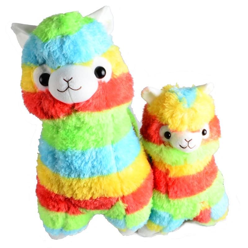 Rainbow Alpaca Vicugna Pacos Plush Toy Japanese Soft Plush Alpacasso Baby Plush Stuffed Animals Alpaca Gifts 35cm and 45cm(China (Mainland))