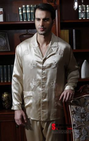 Free shipping Heavy pound silk satin long-sleeve pants mens satin pajama set sexy sleepwear male 100% mulberry silk homewear(China (Mainland))