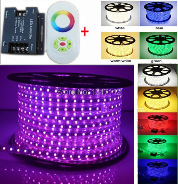 Promot Sale! 110V 220V LED Strip light 5050 60leds/m IP67 Waterproof lamp cool white RGB 100m (IR Touch controller/ RF dimmer )(China (Mainland))