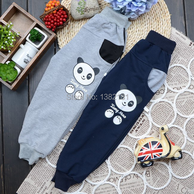 New 2016 Spring autumn children casual pants clothing/ boys and girls fashion leisure trousers/kids panda letter design pants .(China (Mainland))