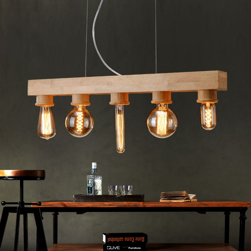 Vintage wood wooden pendant light 5 edison bulbs for for Living room light fixtures