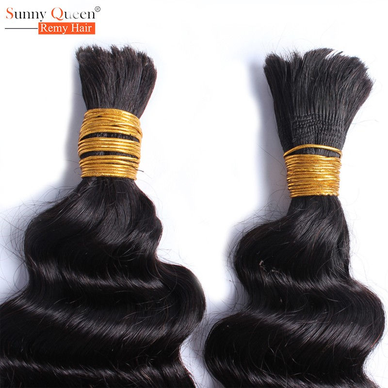 6A Peruvian Deep Wave Human Braiding Hair Bulk No Weft 1pc Virgin Peruvian Curly Hair For Braiding Sunny Queen Hair Products