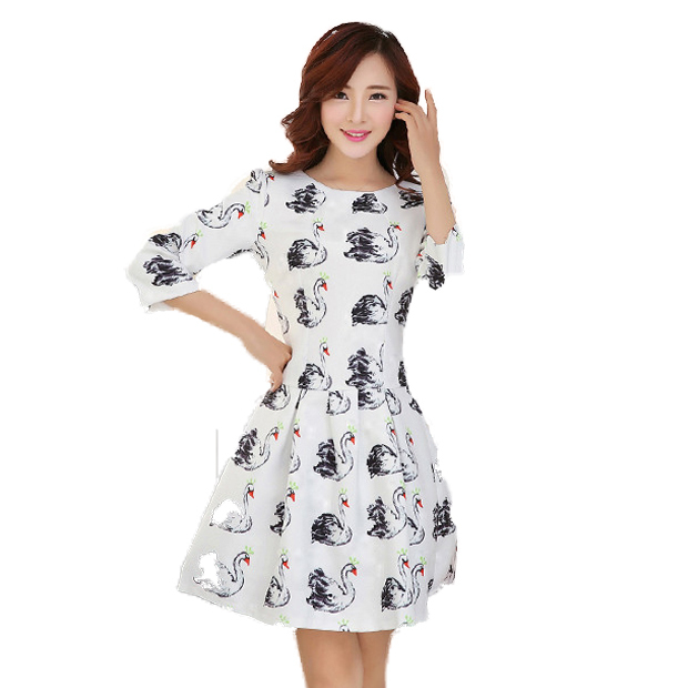2015 new fashion women Casual dresses o-neck Three Quarter dress plus size Swan tutu pattern Print dress Black White S-XXL(China (Mainland))