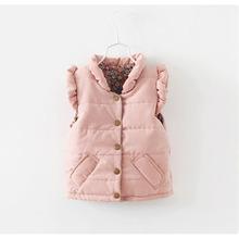 Hot Sale 2016 New Kids Autumn Winter Vest Girls Thicken Cotton Ruffle Collar Coat Children Clothes Girls Casual Vest Pink YY0567