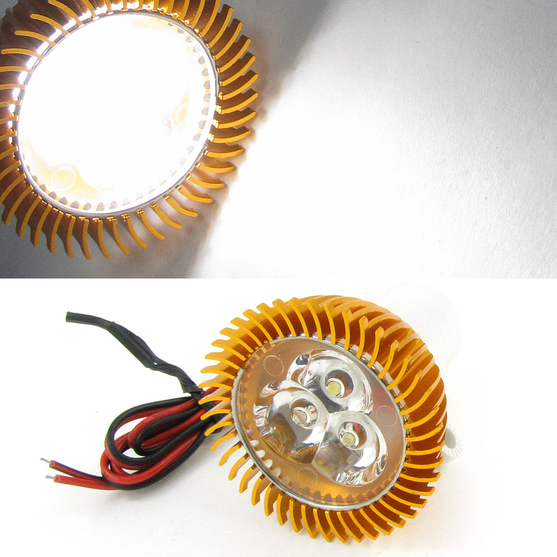 Motorcycle Gold Tone Aluminum Plastic Shell 3 White LED Decorative Spot Light<br><br>Aliexpress