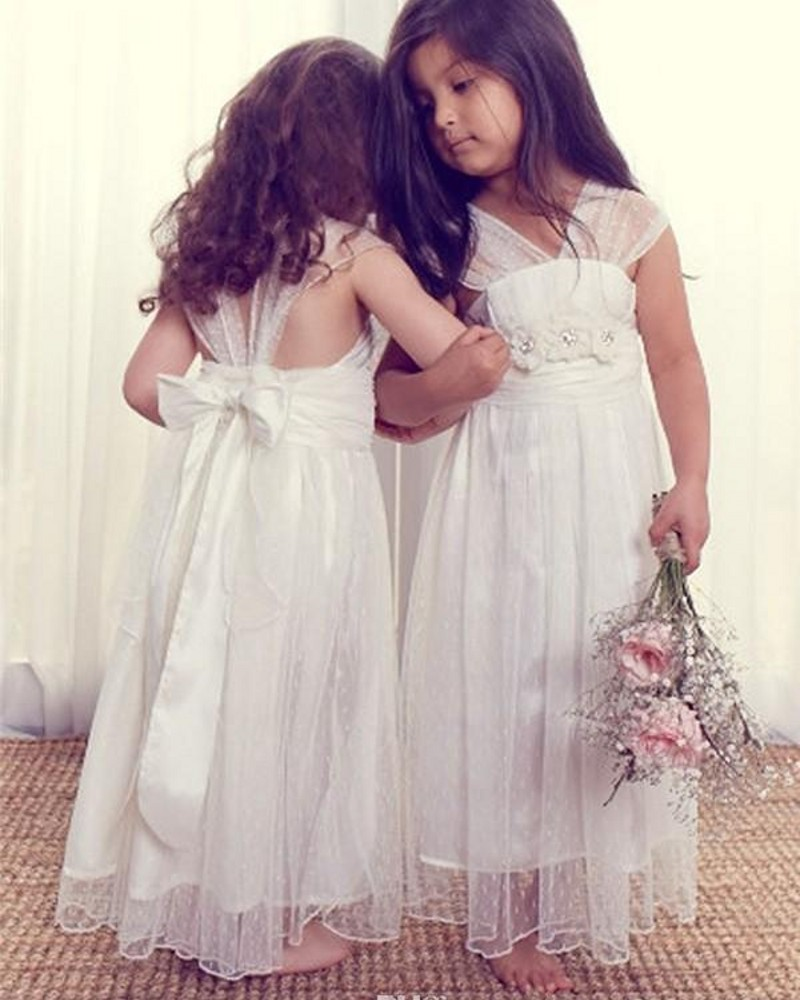 Cute kids a line v neck cap sleeves lace beach flower for Beach wedding flower girl dresses
