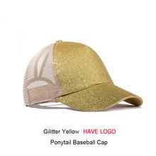 Brillo gorra de béisbol de las mujeres de malla de cola de caballo de brillo Snapback gorras Mujer Deporte tapa conveniente de malla camionero sombrero de papá(China)