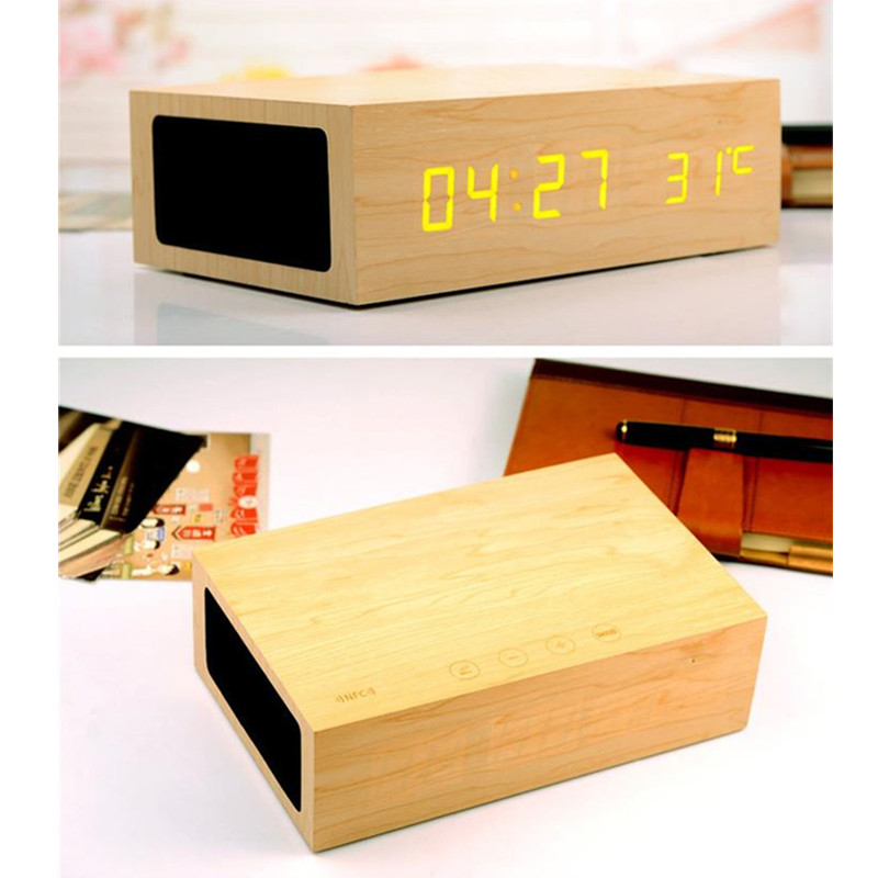 Original Wooden Bluetooth Speaker Alarm Clock Stereo Wireless Speaker LED Display+NFC+USB Charger+Handsfree MP3 Player(China (Mainland))