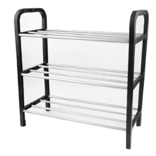 WSFS Hot Sale Black Plastic Stand Silver Tone Metal Tube Design 3 Tier Shoes Rack(China (Mainland))