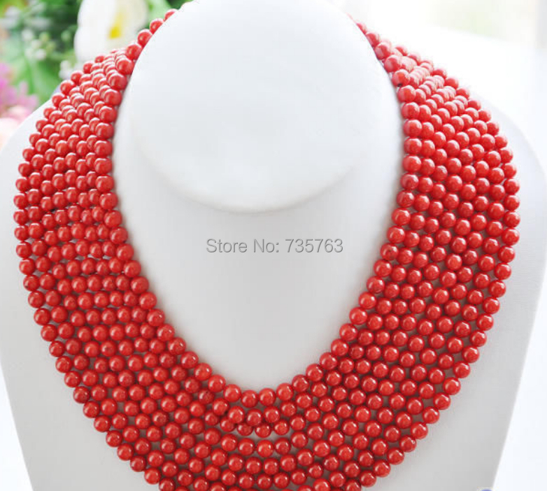 xiuli 0014935 Real 8row 16~22 6MM round red coral bead necklace<br><br>Aliexpress