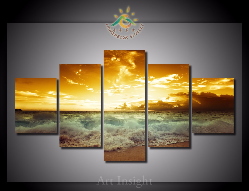 5 Pieces/set Beach Sunset Wall Art Paintings Picture Print on Canvas for Home Decoration Wall Art Picture for Living Room