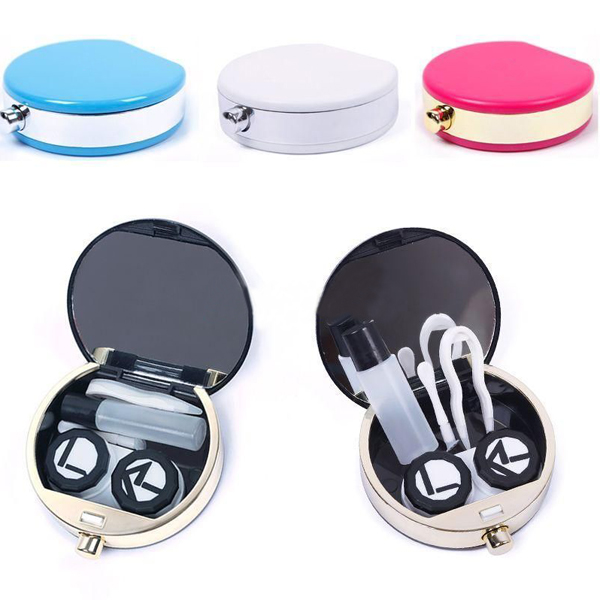 Free Shipping 2016 Fashion Charming Cute Perfume Bottle Design Contact Lens Box Case Container Holder With Mirror Tweezers Set(China (Mainland))