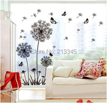 [Saturday Monopoly] hot sale DIY black dandelion flower butterfly art wall decor decals mural pvc wall stickers home decor(China (Mainland))
