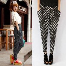 Free Shipping 2015 Women Girl Casual Colorful Dot Pocket Loose Harem Pants Dance Loose Hip-hop Leisure Long Trousers(China (Mainland))