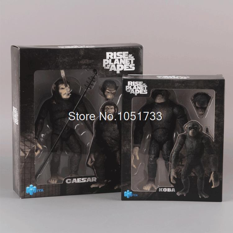 Free Shipping Rise of the Planet of the Apes CAESAR KOBA PVC Action Figure Collectible Model Toy 614cm 2pcs/set MVFG161