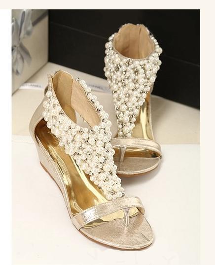Glitter Wedge Sandal Glitter Rhinestone Sandals