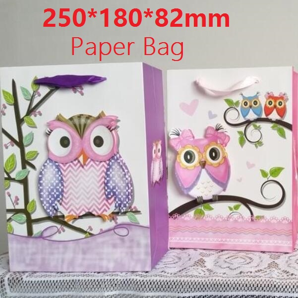 250*180*82mm/New 3D style Owl design White Kraft paper bag / Packaging bags with handles / high quality Festival gift bag(China (Mainland))