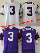 Free shipping LSU Tigers Jerseys #3 odell beckham jr jersey American College Football Jerseys 100% Embroidery Name Number (China (Mainland))