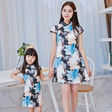 2016 new mother and daughter dress family set chinese flowers slim fit cheongsam dress women vintage clothes dresses for gitls