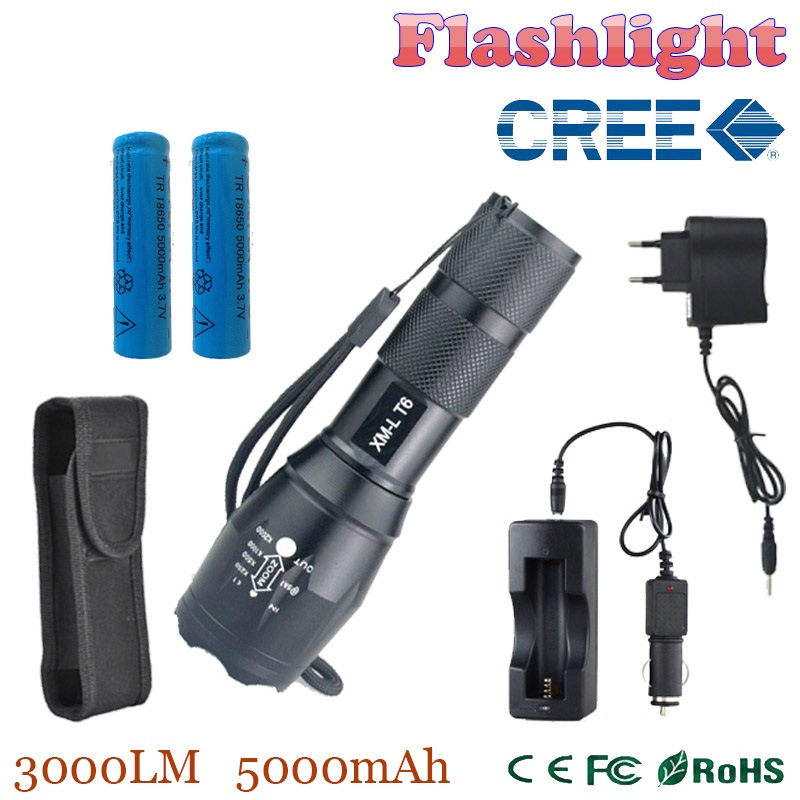 TP XML-T6 3000lm adjustable led flashlight led torch Car Charger+Battery Charger+2*18650 5000mAh battery + Holster pouch(China (Mainland))