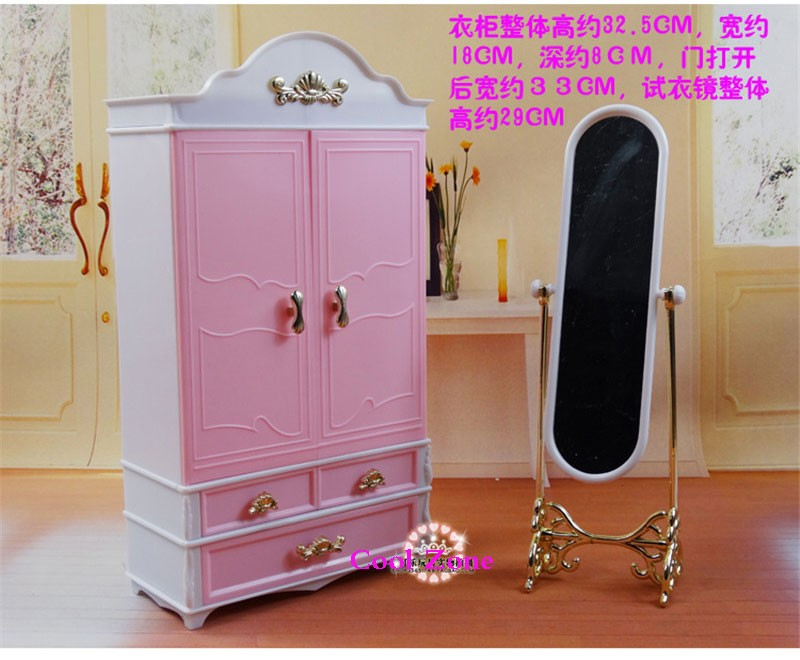 New Arrival Miniature Furnishings Wardrobe&Dressing Mirror for Barbie Doll Home Traditional Toys for Lady Free Transport