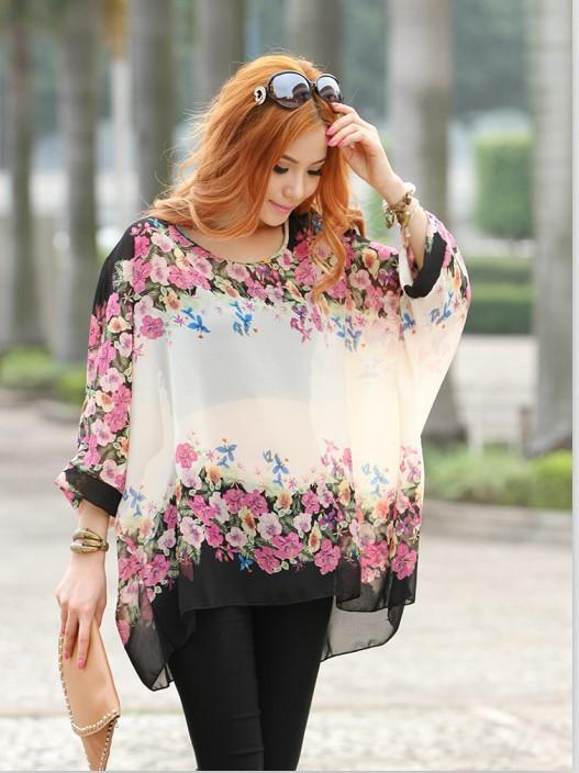 2015 New Chiffon Blouse Shirt Women Tops and Women Clothing Flower Print Loose Women blouse Plus Size L XL  ZLY205(China (Mainland))