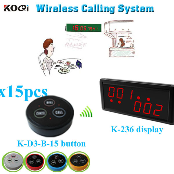 Restaurant Call System with K-236 monitor K- D-3 transmitter button (1 display+ 15 table bell button)(China (Mainland))