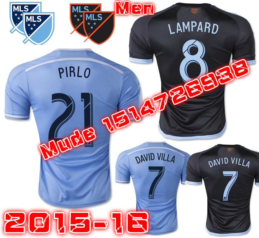 2016 New York City FC Soccer Jersey 15 16 PIRLO DAVID VILLA LAMPARD Football Shirt NYCFC camisetas de futbol(China (Mainland))