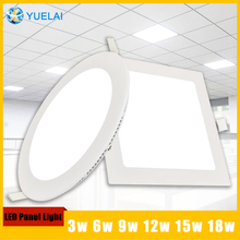 4pcs/lot Square Round Led Panel Light 3w 6w 9w 12w 15w 18w Led Surface Ceiling Recessed Grid Downlight / Round led Panel Light(China (Mainland))