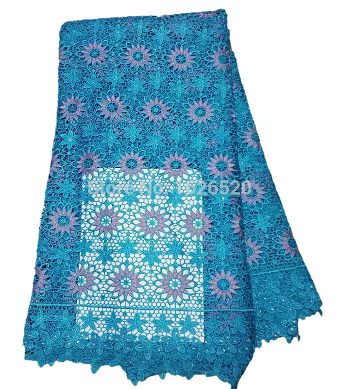 Direct selling flower pattern with sequins blue African Guipure Lace Fabric Material high quality Embroider Water Soluble Lace(China (Mainland))