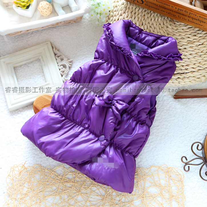 2015 new spring autumn winter foreign trade original girl purple lace cotton-padded waistcoats&amp;coats baby girls elegant clothing<br><br>Aliexpress