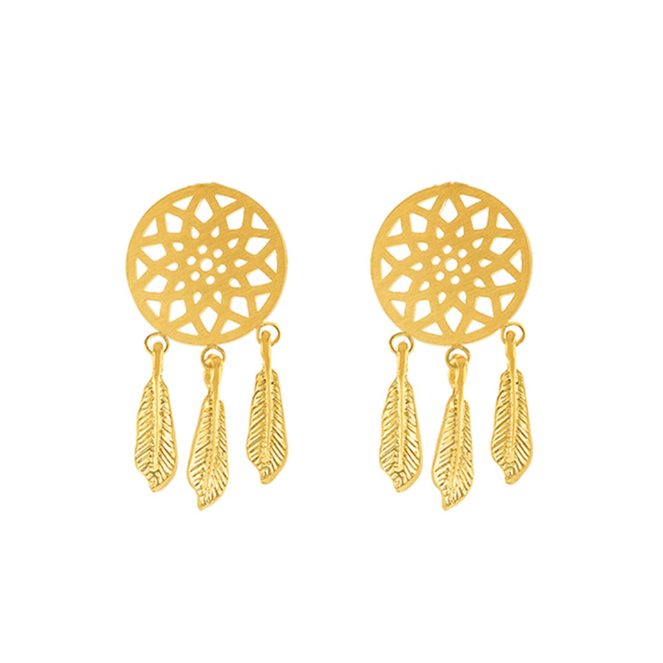 Stainless steel earings fashion jewelry dream catcher earrings silver gold plated boucle d'oreille femme stud earrings 2016(China (Mainland))