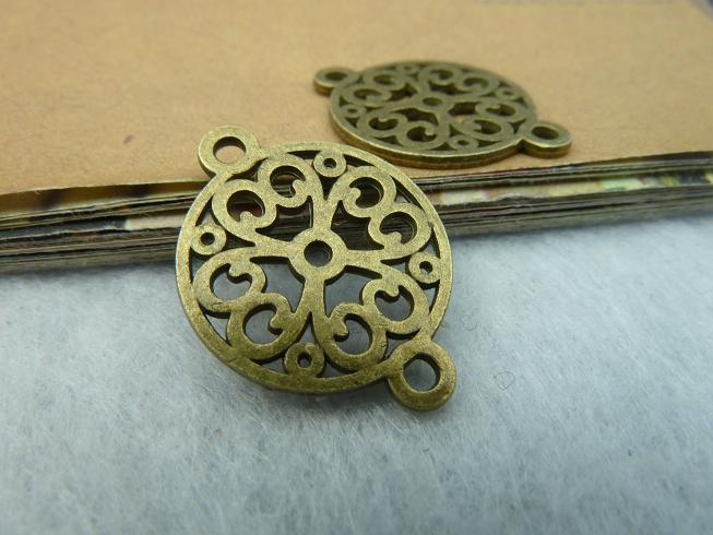 100pcs/lot Diy accessories vintage handmade filigree ancient bronze conector c2645 18mm(China (Mainland))