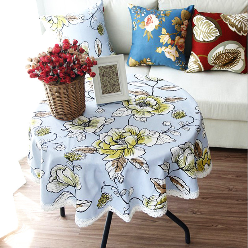 Pastoral style floral print round canvas dining tablecloth with lacework multi functional table cloth for party/daily use WXT902(China (Mainland))